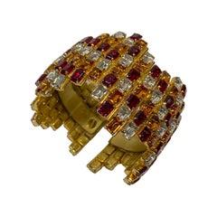 Gianni De Liguoro 1980s Wide Rhinestone Cuff Bracelet