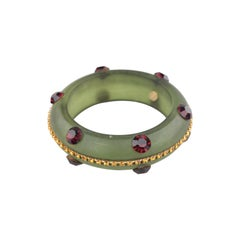 De Liguoro Haute Couture Resin and Crystal Bangle Bracelet