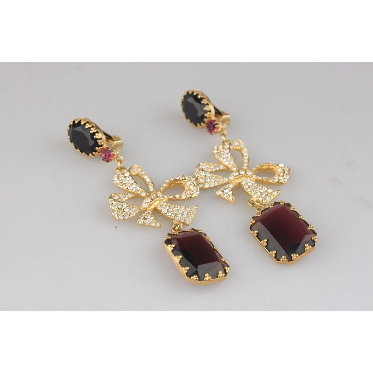 De Liguoro Vintage Haute Couture Enamel and Crystals Earrings