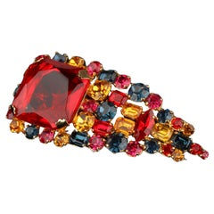 De Liguoro Vintage Haute Couture Multicolor Crystals Brooch Pin