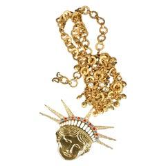 De Liguoro Vintage Haute Couture Statue Of Liberty Necklace