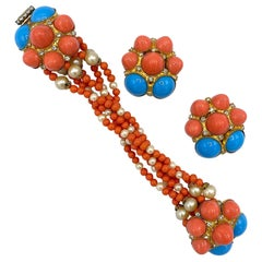 De Lillo 1970s Faux Coral & Turquoise Bracelet and Earrings