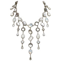 De Luxe NYC/A'dam Silver Tone White Clear and Opaline Art Glass Drop Necklace