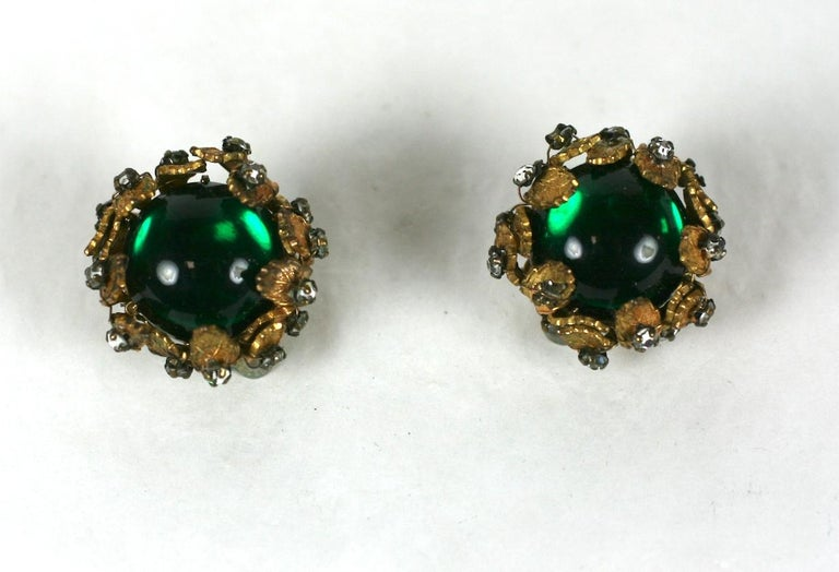 De Mario Cabochon and Crystal Earrings In Good Condition For Sale In Riverdale, NY