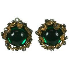 De Mario Cabochon and Crystal Earrings