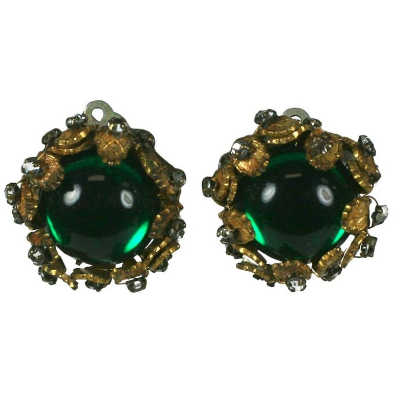 De Mario Cabochon and Crystal Earrings For Sale