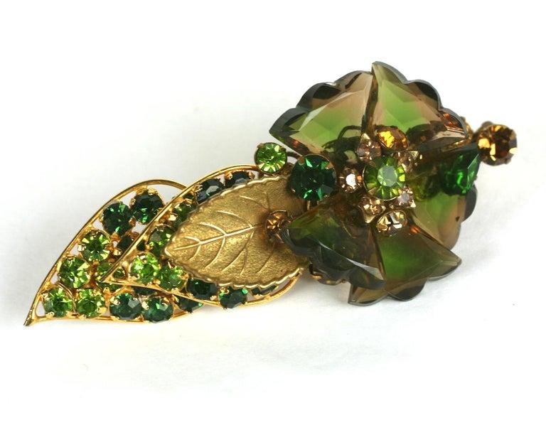 Art Deco De Mario Faceted Glass Petal Flower Brooch For Sale