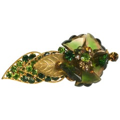 De Mario Faceted Glass Petal Flower Brooch
