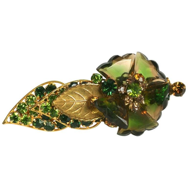 De Mario Faceted Glass Petal Flower Brooch For Sale