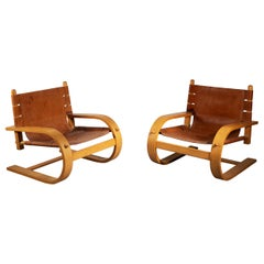 De Pas, D' Urbino, Lomazzi Pair of Scacciapensieri Lounge Chairs for Poltronova
