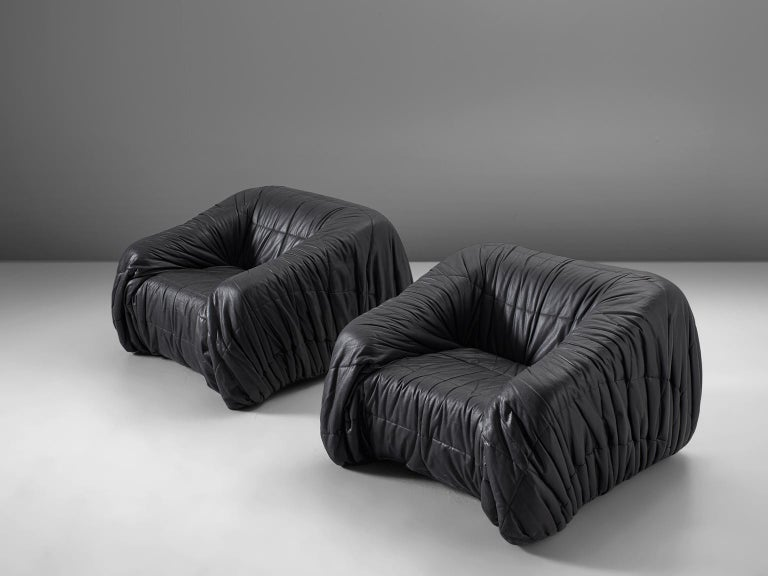 Italian De Pas, D'urbino and Lomazzi Pair of Lounge Chairs in Black Leatherette For Sale