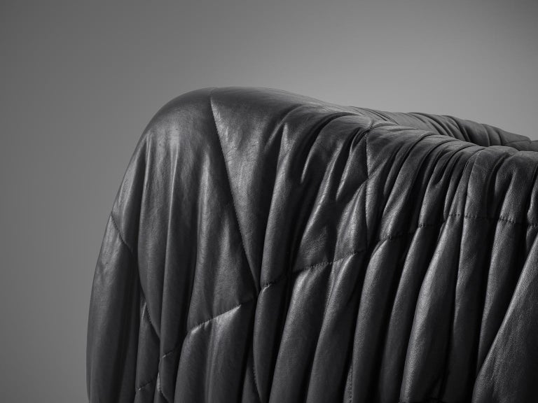 De Pas, D'urbino and Lomazzi Pair of Lounge Chairs in Black Leatherette In Good Condition For Sale In Waalwijk, NL