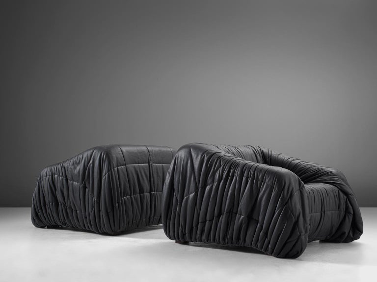 Late 20th Century De Pas, D'urbino and Lomazzi Pair of Lounge Chairs in Black Leatherette For Sale