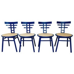 De Pas D'urbino Lomazzi Set of 4 China Blue Chairs for Sormani, Italy, 1983