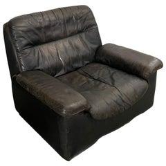 De Sede, 1970s Vintage Leather Reclining Armchair, Black