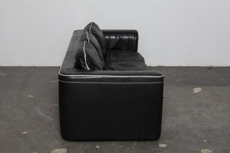 Modern De Sede 1980s Black Leather 3-Seat Sofa For Sale