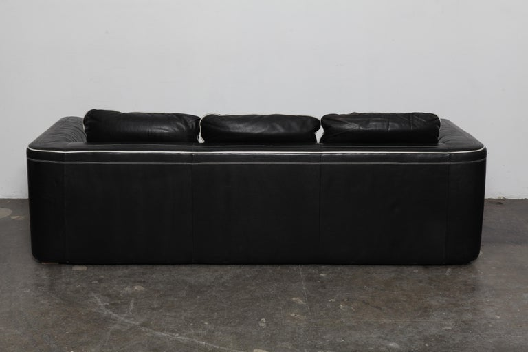 De Sede 1980s Black Leather 3-Seat Sofa In Good Condition For Sale In North Hollywood, CA