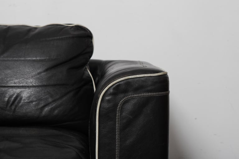 De Sede 1980s Black Leather 3-Seat Sofa For Sale 1