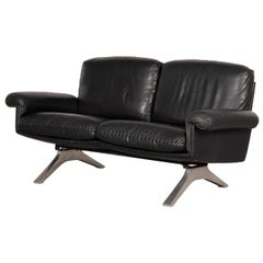 De Sede 2-Seat Sofa, DS31 in Charcoal Leather, Switzerland