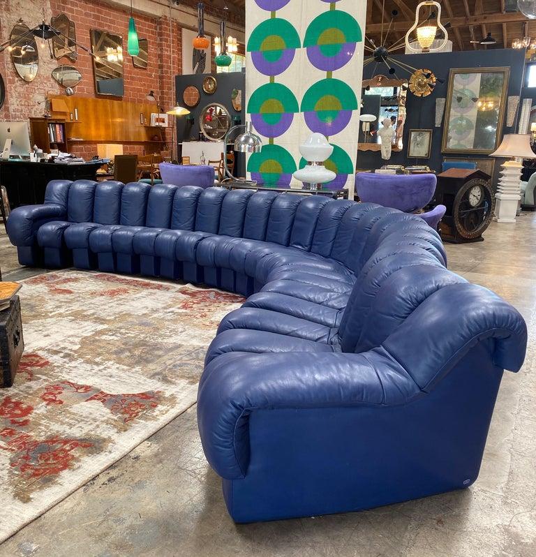 Mid-Century Modern De Sede 600 Non Stop Blue 22 Element Sofa, 1970s For Sale