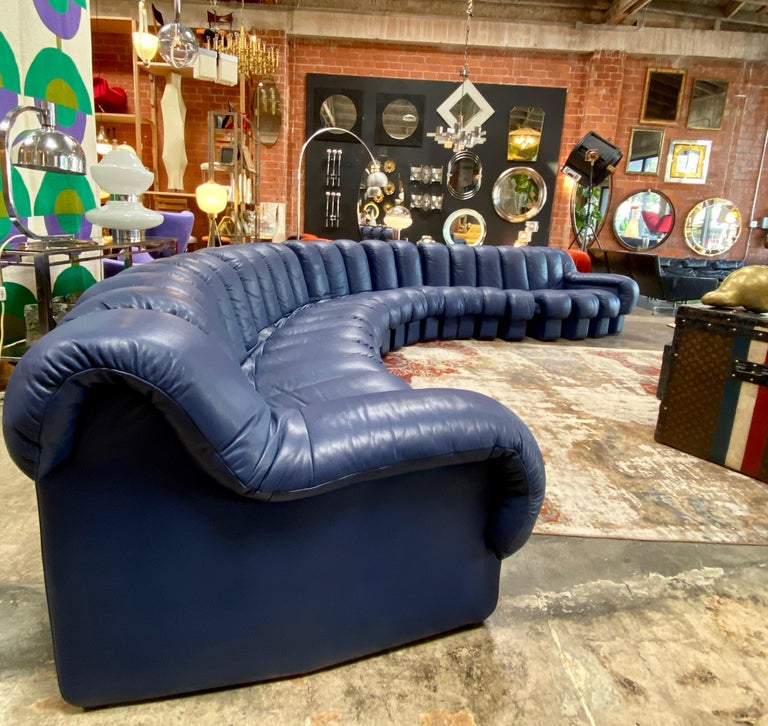 Late 20th Century De Sede 600 Non Stop Blue 22 Element Sofa, 1970s For Sale