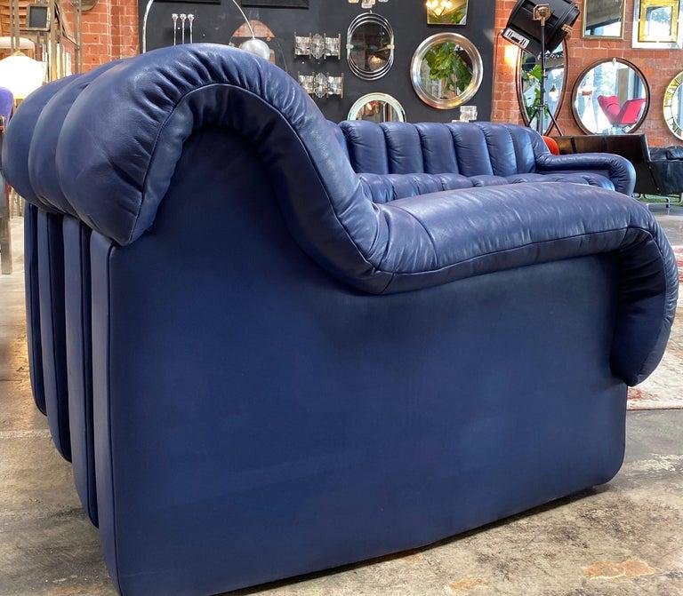 Leather De Sede 600 Non Stop Blue 22 Element Sofa, 1970s For Sale