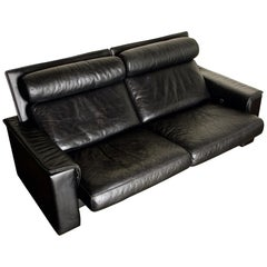 De Sede Aged Black Leather Recliner Loveseat Sofa, 1970s Switzerland, Signed