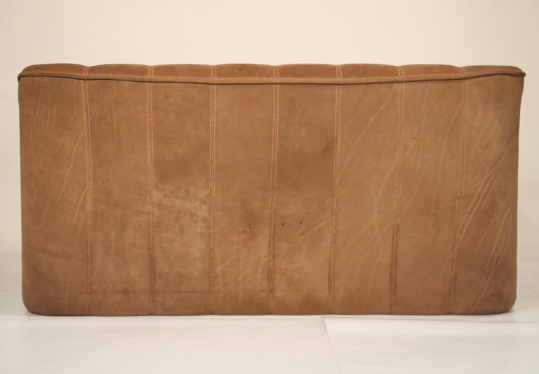 Late 20th Century De Sede Aged Buffalo Leather DS-44 Adjustable Loveseat Sofa, 1970s For Sale