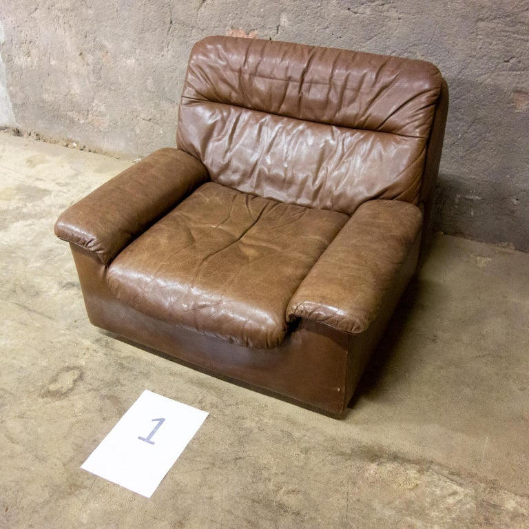 De Sede Armchairs Model DS66, Brown Leather, Switzerland, Swiss Made, 1970s For Sale 4