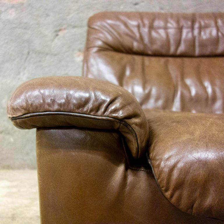 De Sede Armchairs Model DS66, Brown Leather, Switzerland, Swiss Made, 1970s For Sale 7