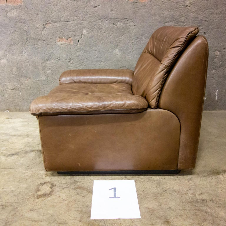 De Sede Armchairs Model DS66, Brown Leather, Switzerland, Swiss Made, 1970s For Sale 11