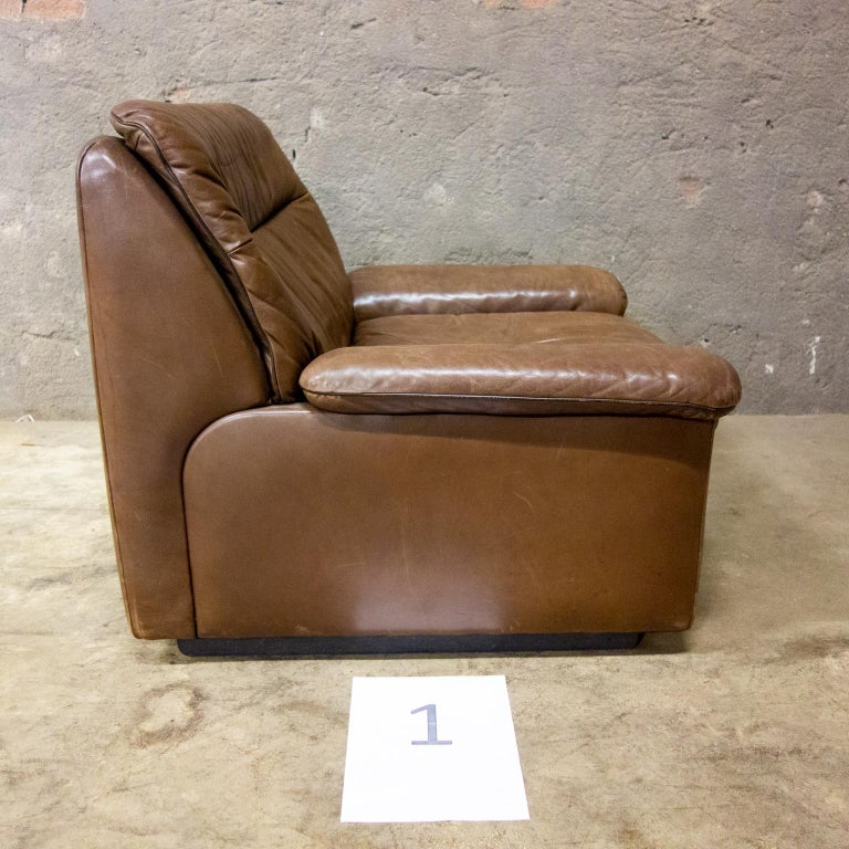 De Sede Armchairs Model DS66, Brown Leather, Switzerland, Swiss Made, 1970s For Sale 13
