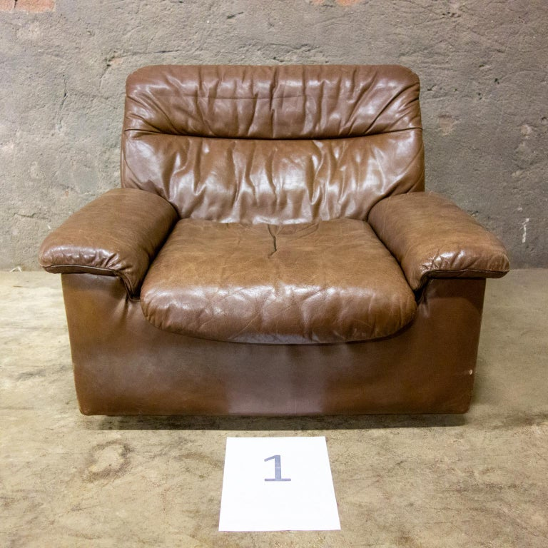 De Sede Armchairs Model DS66, Brown Leather, Switzerland, Swiss Made, 1970s For Sale 14