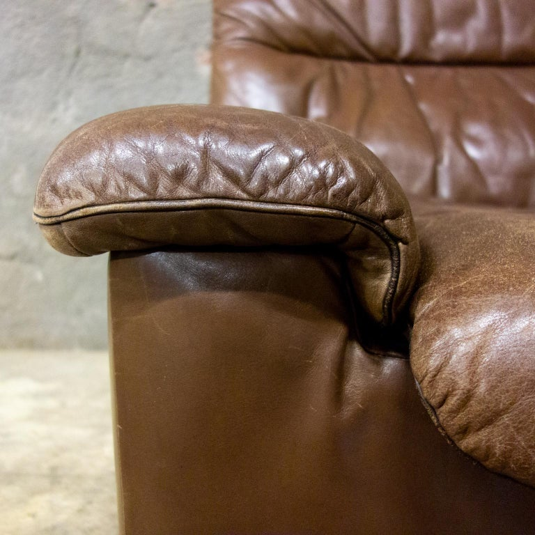 Hand-Crafted De Sede Armchairs Model DS66, Brown Leather, Switzerland, Swiss Made, 1970s For Sale