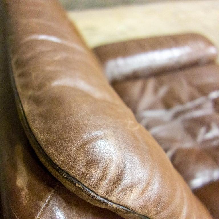 De Sede Armchairs Model DS66, Brown Leather, Switzerland, Swiss Made, 1970s In Good Condition For Sale In Nijmegen, Gelderland