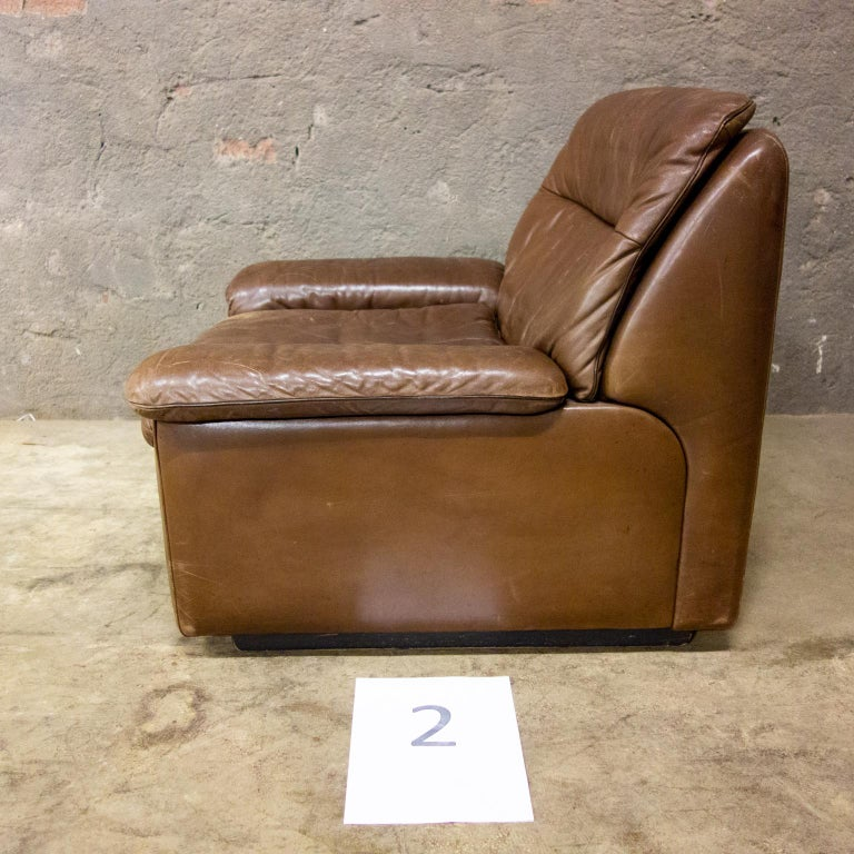 Late 20th Century De Sede Armchairs Model DS66, Brown Leather, Switzerland, Swiss Made, 1970s For Sale