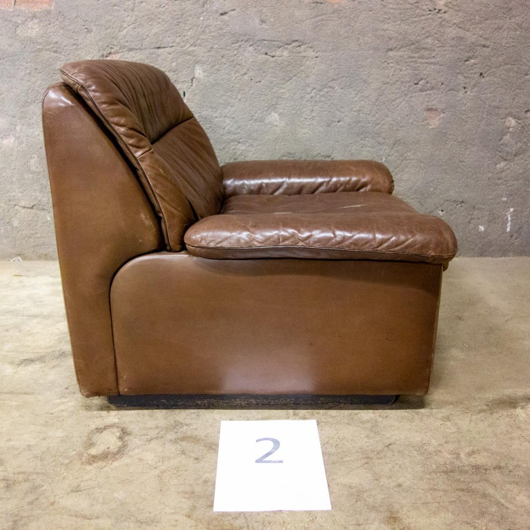 De Sede Armchairs Model DS66, Brown Leather, Switzerland, Swiss Made, 1970s For Sale 2