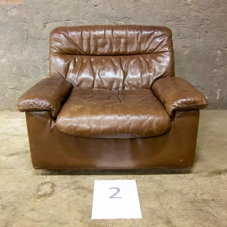 De Sede Armchairs Model DS66, Brown Leather, Switzerland, Swiss Made, 1970s For Sale 3