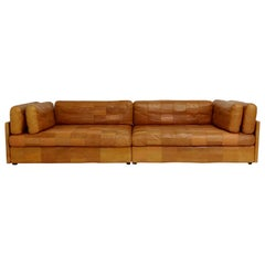 De Sede Attributed Cognac Leather Sofa, circa 1970, Switzerland