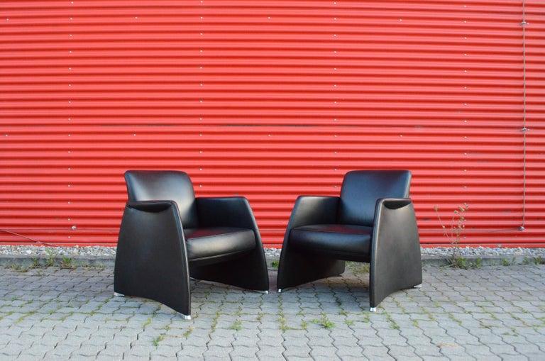 De Sede Black Leather Armchair For Sale 3