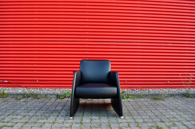 Modern De Sede Black Leather Armchair For Sale