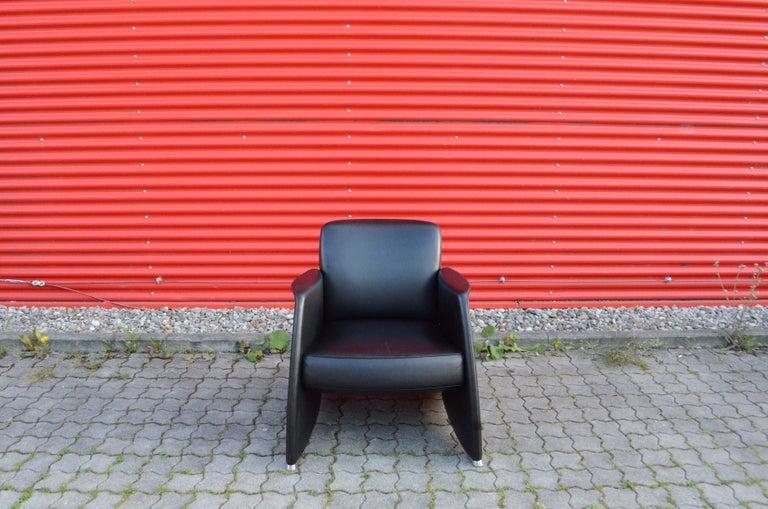 Swiss De Sede Black Leather Armchair For Sale