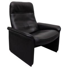 De Sede Black Leather Lounge Chair Model DS-50