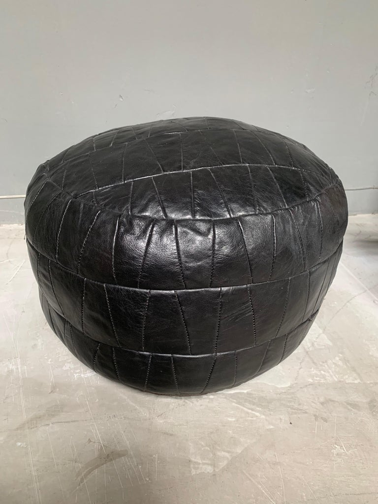 De Sede Black Leather Patchwork Pouf In Good Condition For Sale In Los Angeles, CA