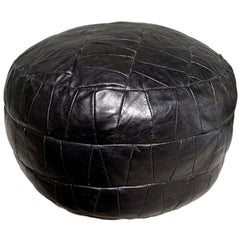 De Sede Black Leather Patchwork Pouf
