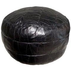 De Sede Black Leather Patchwork Pouf