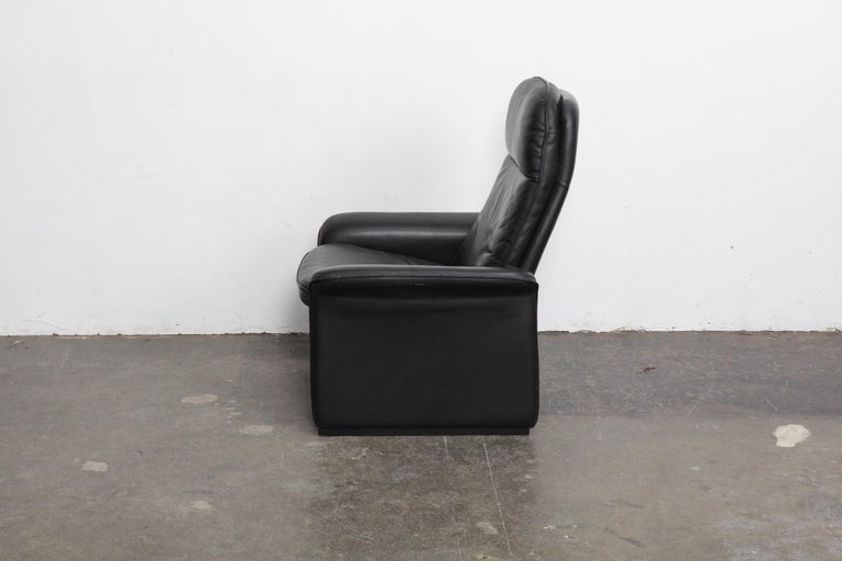 Swiss De Sede Black Leather Reclining DS50 Lounge Chair, Switzerland, 1970s For Sale