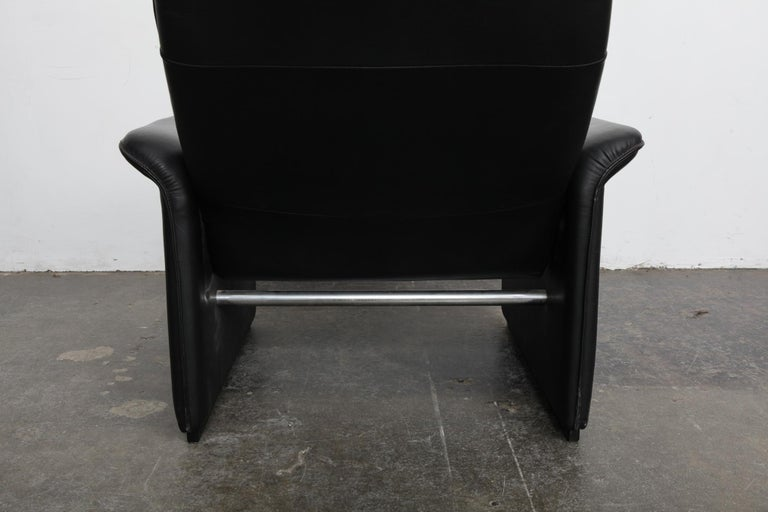 De Sede Black Leather Reclining DS50 Lounge Chair, Switzerland, 1970s For Sale 1