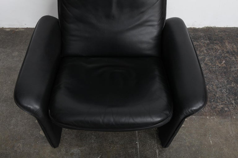 De Sede Black Leather Reclining DS50 Lounge Chair, Switzerland, 1970s For Sale 2