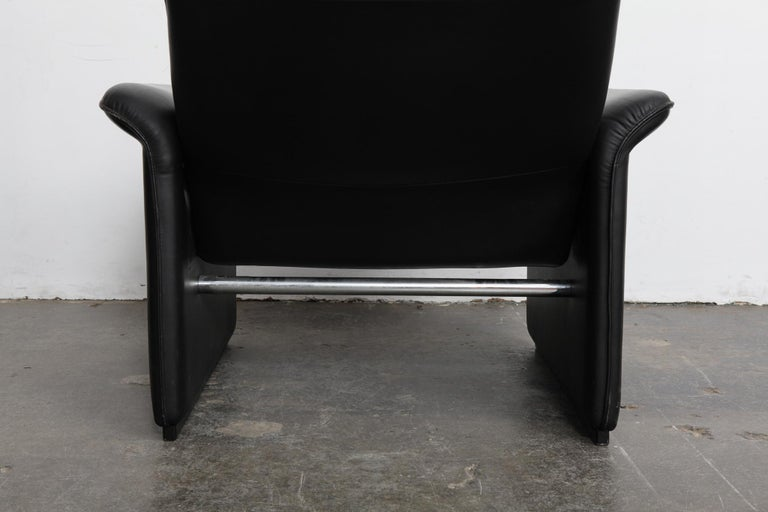 De Sede Black Leather Reclining DS50 Lounge Chair, Switzerland, 1970s For Sale 3